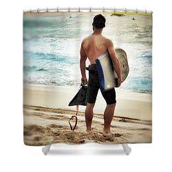 Boggie Boarder At Waimea Bay Shower Curtain by Jim Albritton