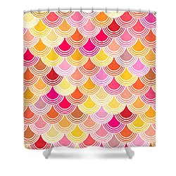 Shower Curtain featuring the digital art Bohemian Fish Scale Pattern In Golds And Pinks by Mark Tisdale