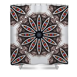 Boho Flower Shower Curtain by Mo T