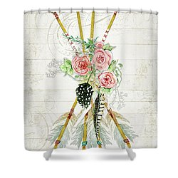 Shower Curtain featuring the painting Boho Western Arrows N Feathers W Wood Macrame Feathers And Roses Aim High by Audrey Jeanne Roberts