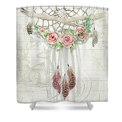 Shower Curtain featuring the painting Boho Western Dream Catcher W Wood Macrame Feathers And Roses Dream Beautiful Dreams by Audrey Jeanne Roberts