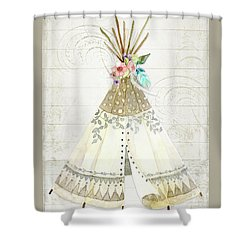 Shower Curtain featuring the painting Boho Western Teepee With Arrows N Feathers W Wood Tribal Border by Audrey Jeanne Roberts