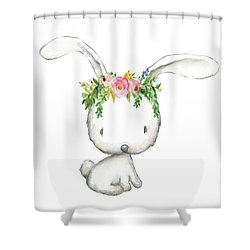 Boho Woodland Bunny Floral Watercolor Shower Curtain