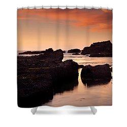 Boiler Bay Sunset Shower Curtain by Mike  Dawson