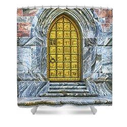Shower Curtain featuring the photograph Bok Tower Door by Deborah Benoit