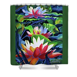 Shower Curtain featuring the painting Bold Lilypads by Kathy Braud