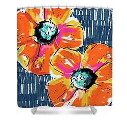 Bold Orange Poppies- Art By Linda Woods Shower Curtain by Linda Woods