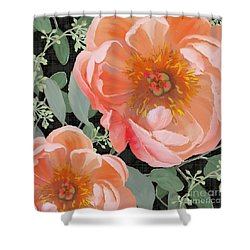 Bold Peony Seeded Eucalyptus Leaves Shower Curtain by Audrey Jeanne Roberts