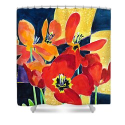 Bold Quilted Tulips Shower Curtain by Kathy Braud