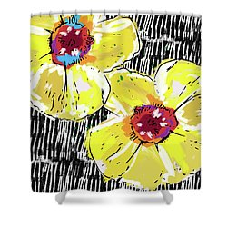 Shower Curtain featuring the mixed media Bold Yellow Poppies- Art By Linda Woods by Linda Woods