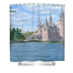 Shower Curtain featuring the painting Boldt's Power House by Lynne Reichhart
