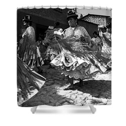 Bolivian Dance Black And White Shower Curtain