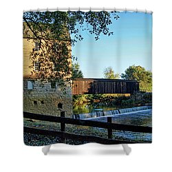 Shower Curtain featuring the photograph Bollinger Mill And Bridge by Cricket Hackmann