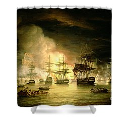 Bombardment Of Algiers Shower Curtain by Thomas Luny
