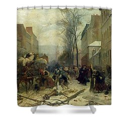 Bombardment Of Paris In 1871 Shower Curtain by Felix Philippoteaux