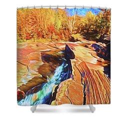 Bonanza Falls Shower Curtain by Dennis Cox WorldViews