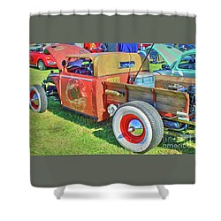 Boneyard Bombs Shower Curtain by Marion Johnson