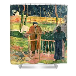 Bonjour Monsieur Gauguin Shower Curtain by Paul Gauguin