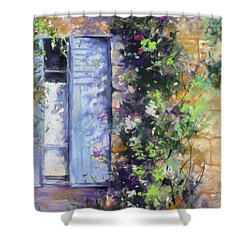 Bonjour Shower Curtain by Rae Andrews