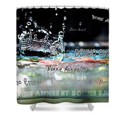 Bonne Annee Card Shower Curtain by Lisa Knechtel