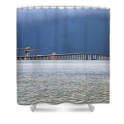 Shower Curtain featuring the photograph Bonner Bridge Replacement by Alan Raasch