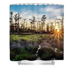 Bonnet Carre Sunset Shower Curtain by Andy Crawford
