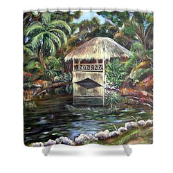 Shower Curtain featuring the painting Bonnet House Chickee by Patricia Piffath