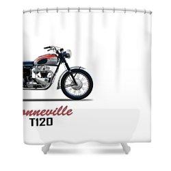 Bonneville T120 1962 Shower Curtain by Mark Rogan