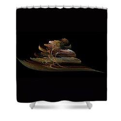 Shower Curtain featuring the digital art Bonsai On Black by Richard Ortolano