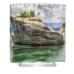 Bonsai Rock And Rain Shower Shower Curtain by Marc Crumpler