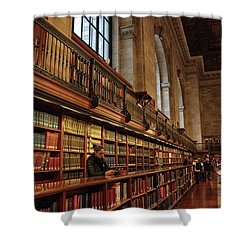 Shower Curtain featuring the photograph Book Browsing by Jessica Jenney