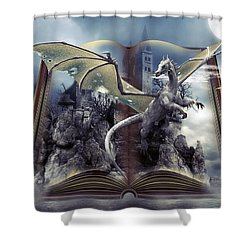 Book Of Fantasies Shower Curtain by G Berry