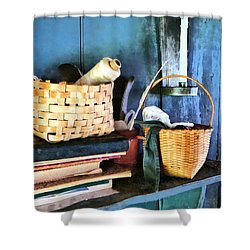 Books And Baskets Shower Curtain by Susan Savad