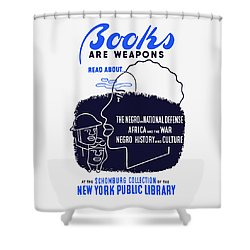 Shower Curtain featuring the painting Books Are Weapons - Wpa by War Is Hell Store