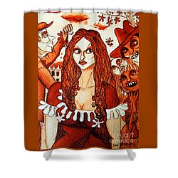 Shower Curtain featuring the painting Boor People And Girl by Don Pedro De Gracia