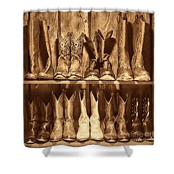 Boot Rack Shower Curtain by American West Legend By Olivier Le Queinec