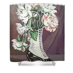 Shower Curtain featuring the painting Booted Peonies by Laura Aceto