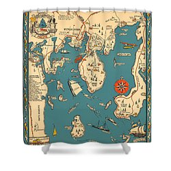 Boothbay Harbor And Vicinity - Vintage Illustrated Map - Pictorial - Cartography Shower Curtain
