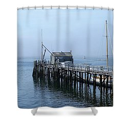Boothbay Shipyard Dock Shower Curtain