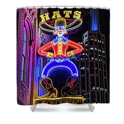 Boots And Hat Neon Sign Shower Curtain