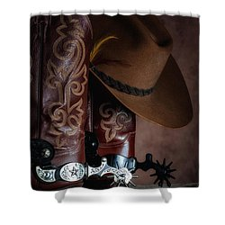 Boots And Spurs Shower Curtain by Tom Mc Nemar