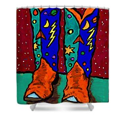 Boots On Rust Shower Curtain