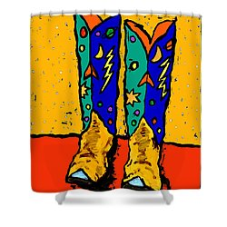 Boots On Yellow 24x30 Shower Curtain