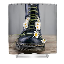 Boots With Daisy Flowers Shower Curtain