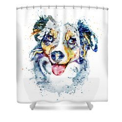 Shower Curtain featuring the mixed media Border Collie  by Marian Voicu