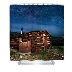 Boreas Pass Cabin Moonlit Night Shower Curtain