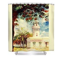 Borinquen Lighthouse Aguadilla Puerto Rico Shower Curtain by Estela Robles