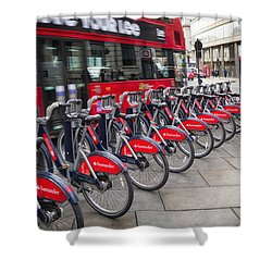 Shower Curtain featuring the photograph Boris Bikes And Buses by Shirley Mitchell