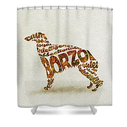 Shower Curtain featuring the painting Borzoi Dog Watercolor Painting / Typographic Art by Inspirowl Design
