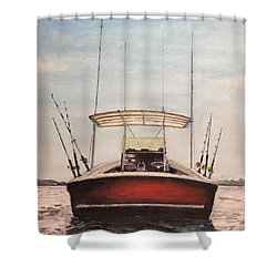 Shower Curtain featuring the painting Helen's Boat by Stan Tenney